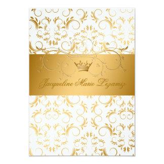 311-Golden diVine White Delight Sweet 16 5x7 Paper Invitation Card