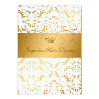 311-Golden diVine White Delight Sweet 16 Card