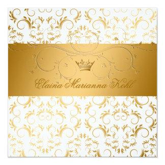 311-Golden diVine White Delight Sweet 16 Invitation