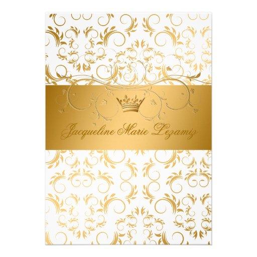 311-Golden diVine White Delight Sweet 16 Personalized Invitation