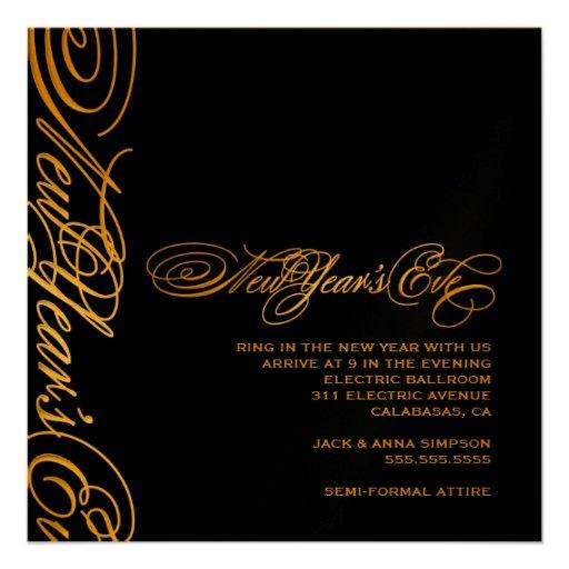 311 Golden New Year's Eve Invitation