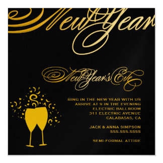 311 Golden New Year's Eve Toast 2 Personalized Announcements
