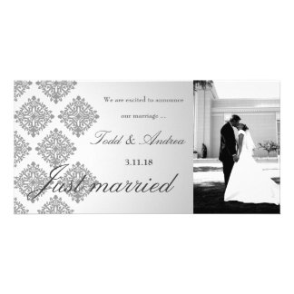 311-Gray Damask Just Married Photo Card