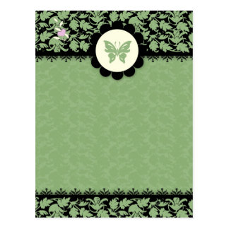 311-GREEN BUTTERFLY DAMASK POST CARD