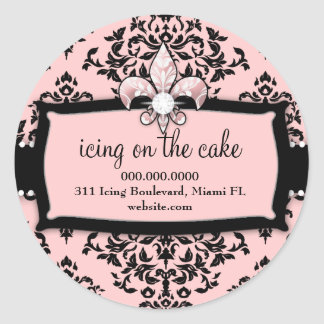 311 guinda del pastel Pink dulce Fleur Di Lis Pegatinas Redondas