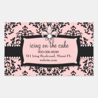 311 guinda del pastel Pink dulce Fleur Di Lis Rectangular Pegatina