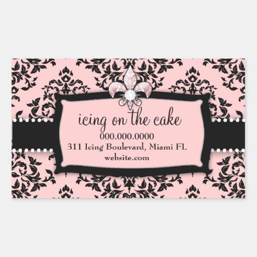 311 guinda del pastel Pink dulce Fleur Di Lis Pegatina Rectangular