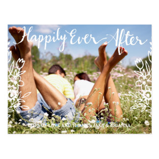 311 Happily Ever After Floral Wedding Thank You Postcard