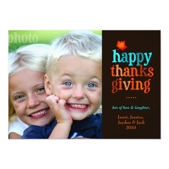311-Happy Thanksgiving Photo Blue Card