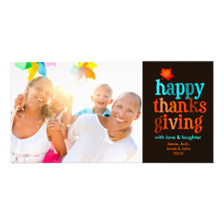 311-Happy Thanksgiving Photo Card Blue