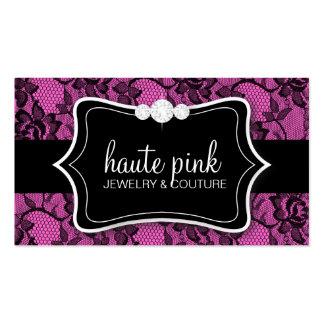 311 Haute Black Lace & Diamonds Pink Back Business Card