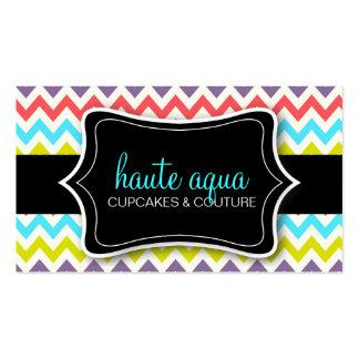 311 Haute Chevron Pattern Aqua Business Card