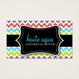 311 Haute Chevron Pattern Aqua Business Card