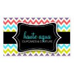 311 Haute Chevron Pattern Aqua Business Card Templates