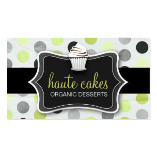 311 Haute Cupcakes Polka Dots Lime Business Card