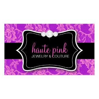 311 Haute Pink Lace & Diamonds Purple Back Business Card