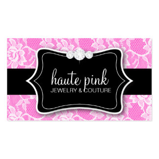 311 Haute White Lace & Diamonds Pink Back Business Card