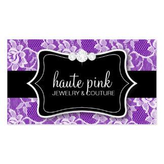 311 Haute White Lace & Diamonds Purple Back Business Card