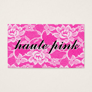 311 Haute White Lace Solid Pink Business Card