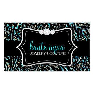 311 Haute Zebra Leopard Aqua Business Card