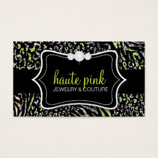 311 Haute Zebra Leopard Lime Business Card