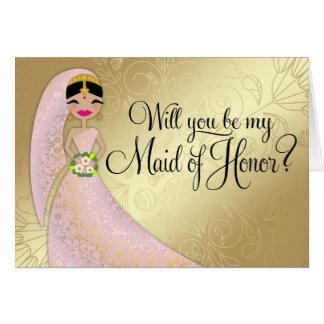 311 Henna Ornate Blush Pink DressBrunette Indian Greeting Card