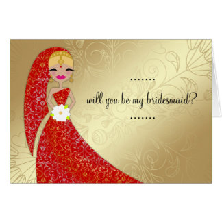 311 Henna Ornate Dress Updo Blonde Indian Greeting Card