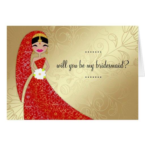 311 Henna Ornate Dress Updo Brunette Indian Greeting Card