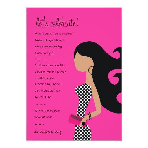311-HIGH FASHIONISTA INVITATION | Fire Pink