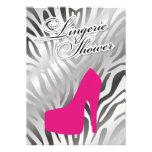 311-Hot Pink Heel Shimmer Zebra Custom Invitation