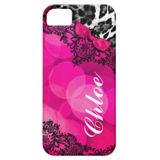 311 Hot Pink Leopard Dream in Lights Lace faux bow iPhone SE/5/5s Case