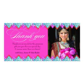 311 Hot Pink Ornamental Thank You Photo Card Heart