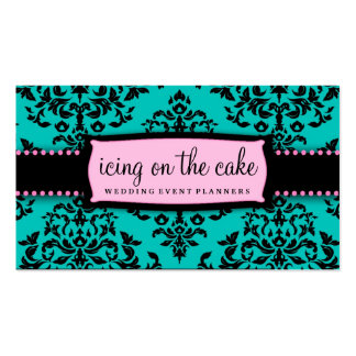 311 Icing on the Cake Aqua Pink Business Card Template