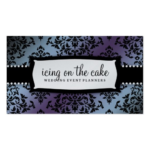 311 Icing on the Cake Hydrangea Silver Metallic Business Card Templates