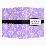 311 Icing on the Cake Lilac White Damask 3 Ring Binders