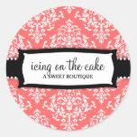 311 Icing on the Cake Melon White Damask Round Sticker