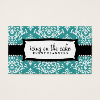 311 Icing on the Cake Teal White Damask Business Card