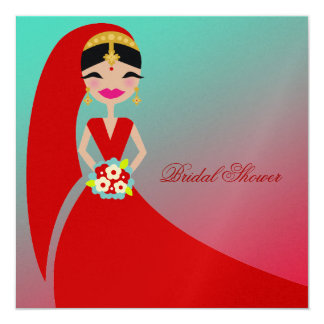 311-Indian Beauty | Bridal Shower Turquoise Dream Card
