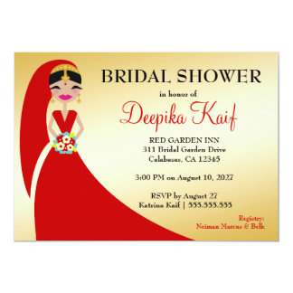 "311 Indian Beauty Bride 5"" X 7"" Invitation Card"