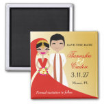 311- Indian Beauty Bride with Groom 2 Inch Square Magnet