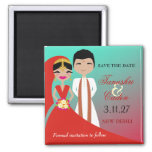 311- Indian Beauty Bride with Groom Turq Dream 2 Inch Square Magnet