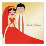 """311-Indian Beauty with Groom Bridal Shower 5.25"""" Square Invitation Card"""