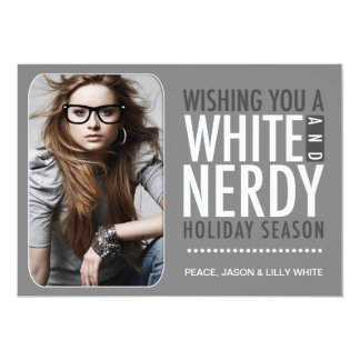 311 Interactive Glasses White and Nerdy Holiday 5x7 Paper Invitation Card