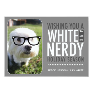 """311 Interactive Glasses White Nerdy Holiday Card 5"""" X 7"""" Invitation Card"""