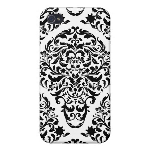 311 iPhone 4 White Black Damask Round iPhone 4 Covers