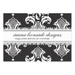 311 Iriana Damask Chubby Charcoal Large Business Cards (Pack Of 100)