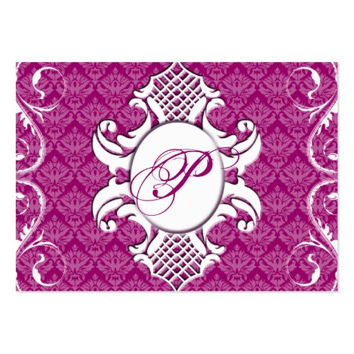 311-Iriana Damask Shield Chubby | Royal Pink Large Business Cards (Pack Of 100)
