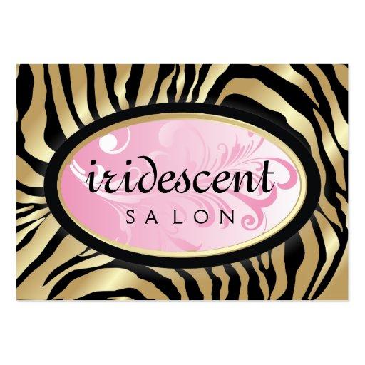 311-Iridescent Golden Zebra Pink Appointment Card Business Card Template