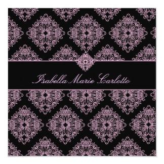 "311-Isabella Pink et Black Damask Invitation 5.25"" Square Invitation Card"