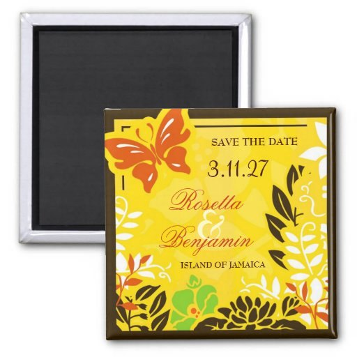 311 Jamaican Garden Save the Date 2 Inch Square Magnet